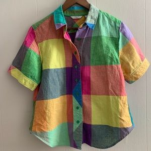 Vintage Colorful Checkered Button Down Shirt